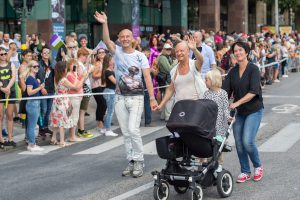 Stockholm, Sweden - July 30, 2016: Celebrities Mark Levengood, Jonas Gardell and Mona Sahlin   participated in Stockholm Pride Parade 2016, which  was followed by almost half a million spectators. The Stockholm Pride festival has been held annually since 1998.